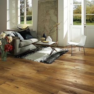 Kahrs Oak Bronzo dark rustic floor laid in a lounge setting